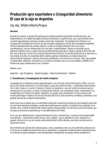 (in)seguridad alimentaria: el caso de la soja en Argentina - ODG