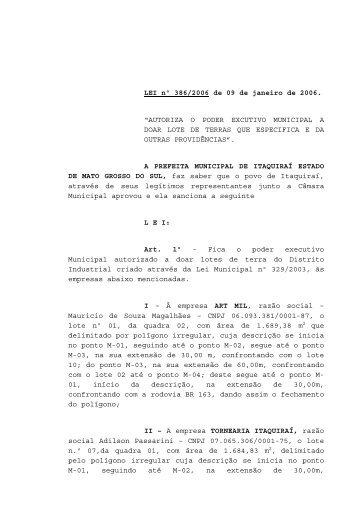 Lei nº. 386/2006 - Prefeitura Municipal de Itaquiraí