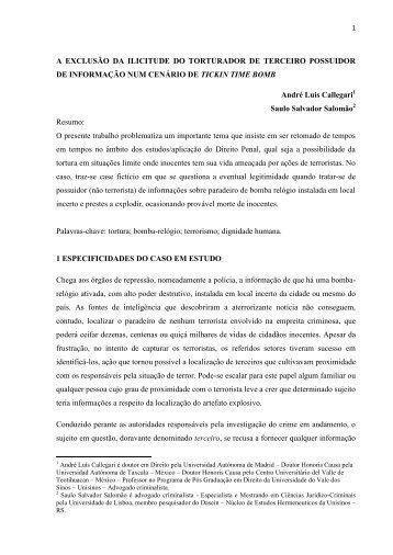 A EXCLUSÃO DA ILICITUDE DO TORTURADOR DE ... - pucrs