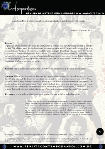 A contracultura ea imprensa alternativa - Revista Contemporâneos