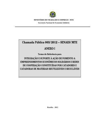 Anexo I - Termo de Referência - Ministério do Trabalho e Emprego