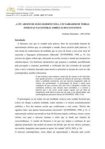 A CÉU ABERTO DE JOÃO GILBERTO NOLL: UM ... - Cielli