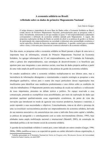 A economia solidária no Brasil: refletindo sobre ... - Jornal do MAUSS