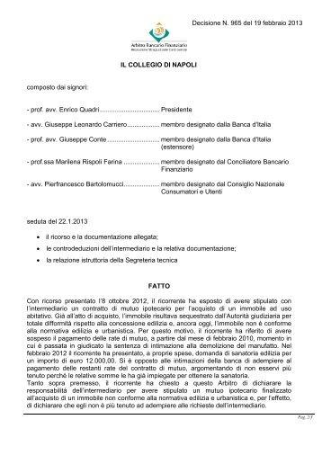 Decisione N. 965 del 19 febbraio 2013 - Arbitro Bancario Finanziario