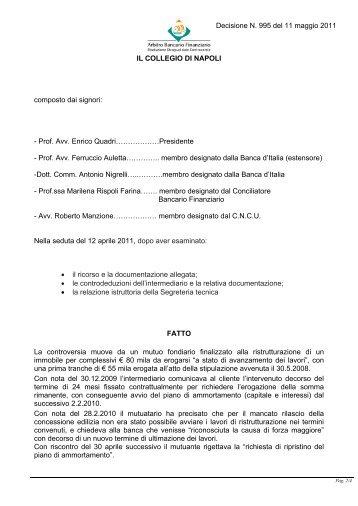 Decisione N. 995 del 11 maggio 2011 - Arbitro Bancario Finanziario