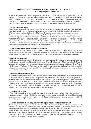 informativa privacy - Caf Zagarolo