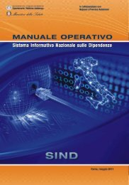 Manuale operativo SIND - Dipartimento per le politiche antidroga