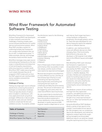 Wind River Framework for Automated Software Testing