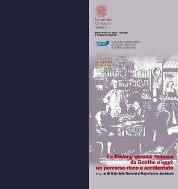 La Bildung ebraico-tedesca da Goethe a oggi: un percorso ricco e ...