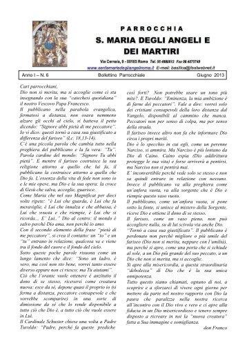 Anno 1 – N. 6 Bollettino Parrocchiale Giugno 2013 - Basilica di ...