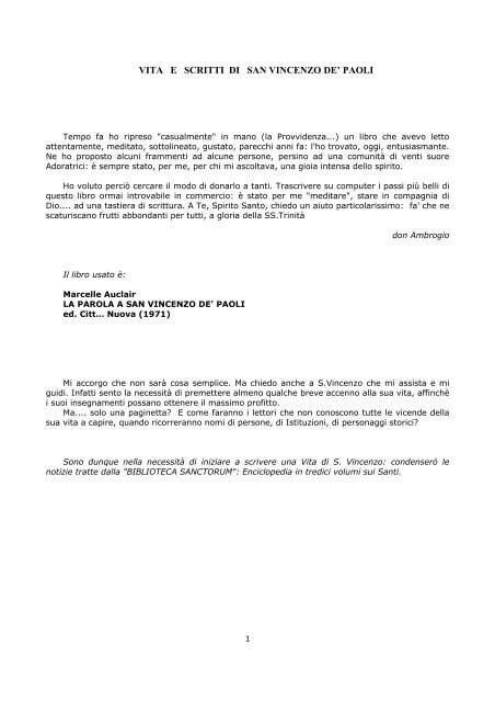 VITA E SCRITTI DI SAN VINCENZO DE' PAOLI - Ambrogio Villa