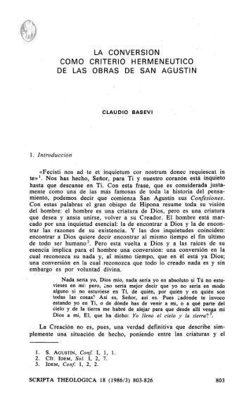 la conversion como criterio hermeneutico de las obras de san agustin