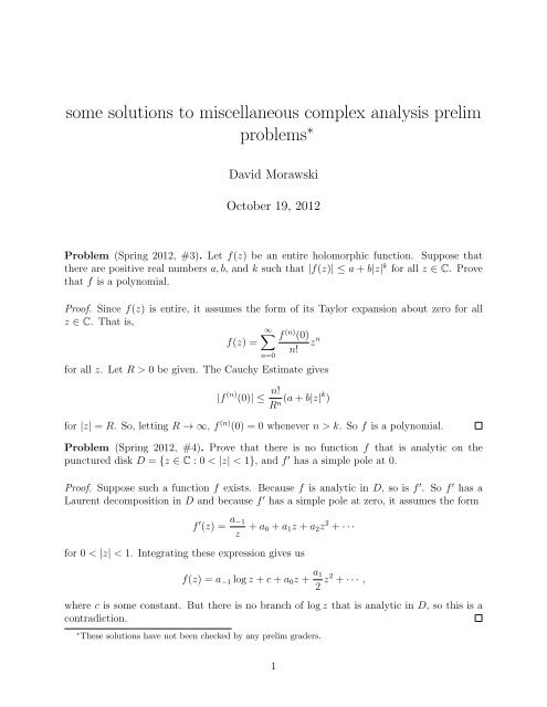 some solutions to miscellaneous complex analysis prelim
