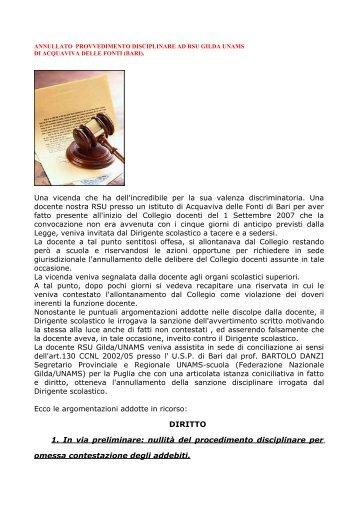 ANNULLATO PROVVEDIMENTO DISCIPLINARE AD ... - Gilda Napoli