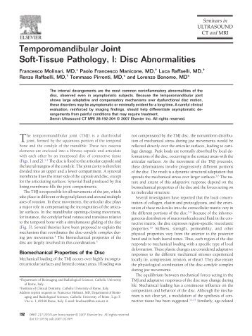 Temporomandibular Joint Soft-Tissue Pathology, I - Drawbridge ...