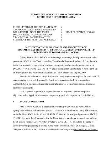 DRA - Mot to Compel Disc to TC 2009-09-21 - Sierra Club