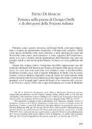 Petrarca nella poesia di Giorgio Orelli e di altri poeti della Svizzera ...
