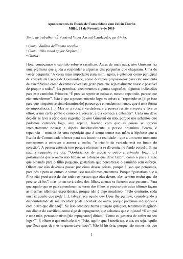 Texto de trabalho: «É Possível Viver Assim [Caridade]», pp. 67-78 ...