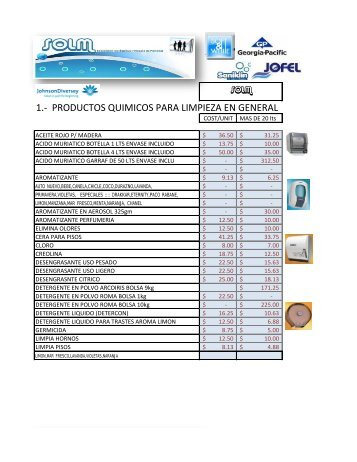 1.- PRODUCTOS QUIMICOS PARA LIMPIEZA EN GENERAL