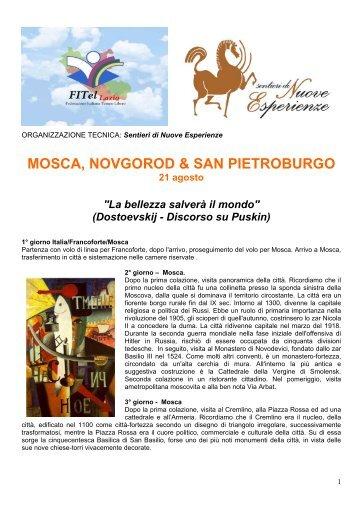MOSCA, NOVGOROD & SAN PIETROBURGO 21 agosto - FITeL Lazio