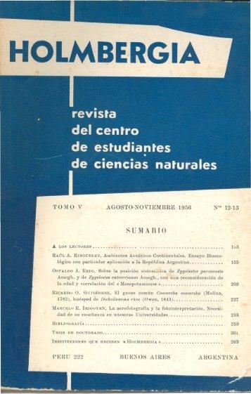 Biblioteca Digital | FCEN-UBA | Holmbergia Nº 12 y 13 Revista del ...