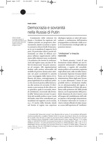 Democrazia e sovranità nella Russia di Putin
