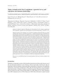 Alpine wetlands in the West Carpathians: vegetation survey and ...