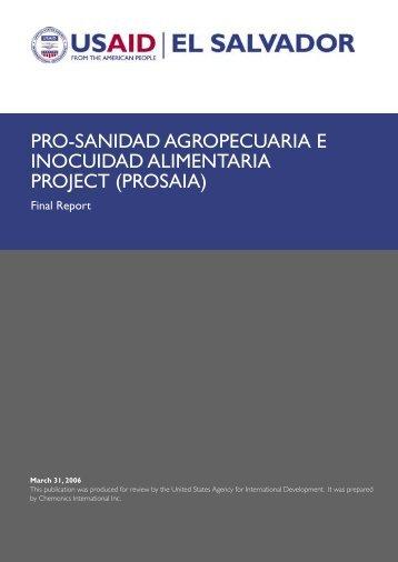 pro-sanidad agropecuaria e inocuidad alimentaria project