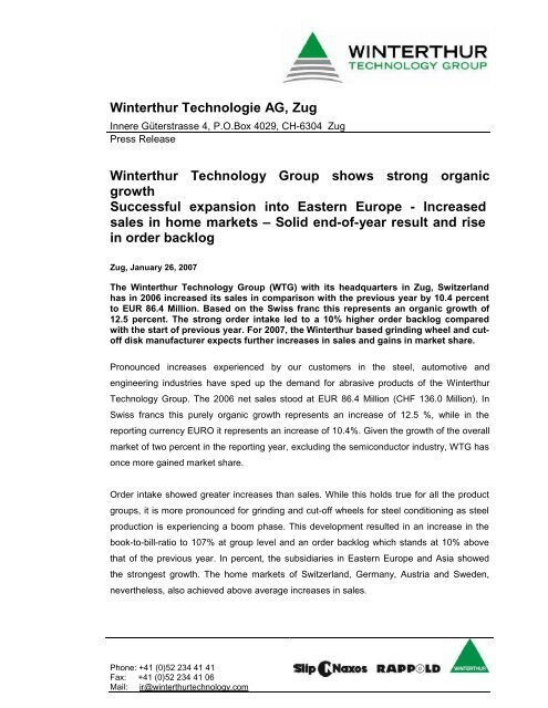 Winterthur Technologie AG Zug Technology Group