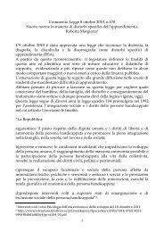 Commento Legge 8 ottobre 2010, n.170 Nuove norme in materia di ...