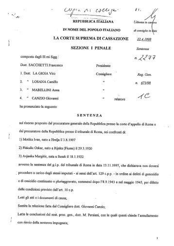 Sentenza della Corte Suprema di Cassazione n. 2277 del 22.04.1998