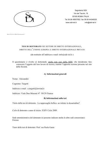 Targetti Alessandro - Società Italiana di Diritto Internazionale