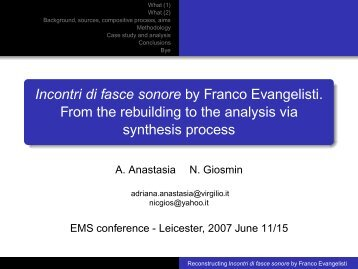 Incontri di fasce sonore by Franco Evangelisti. From the rebuilding to ...