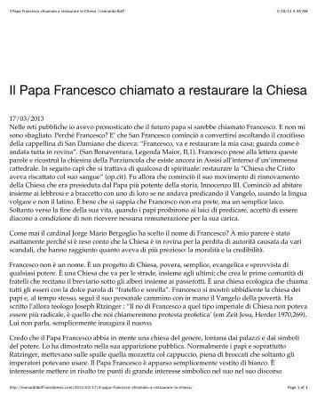 Il Papa Francesco chiamato a restaurare la Chiesa | Leonardo Boff