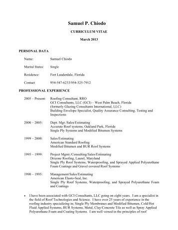 Samuel Chiodo Curriculm Vitae - GCI Consultants, LLC
