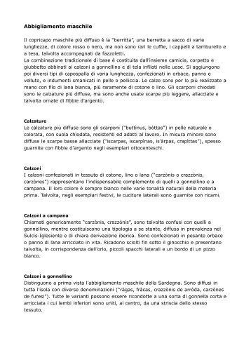 Abbigliamento maschile - Sardegna Cultura