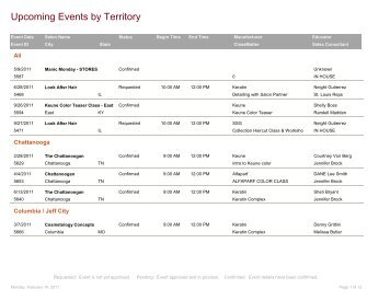 Upcoming Events by Territory - Salon Service Group