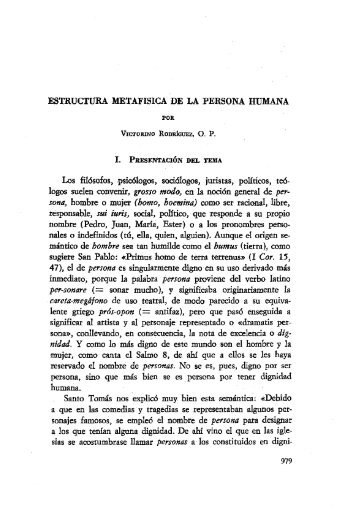 ESTRUCTURA METAFISICA DE LA PERSONA HUMANA Los ...