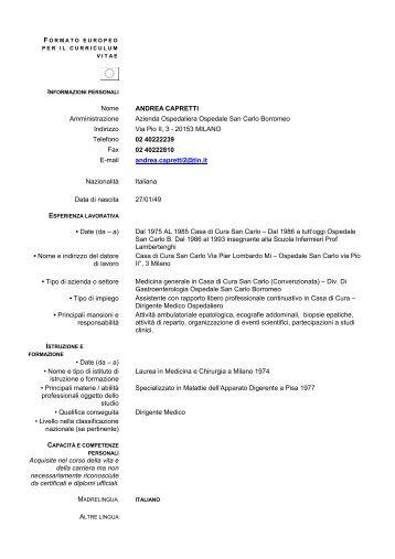 Andrea Capretti - Ospedale San Carlo Borromeo