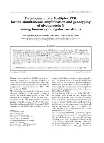 Development of a Multiplex PCR for the simultaneous amplification ...