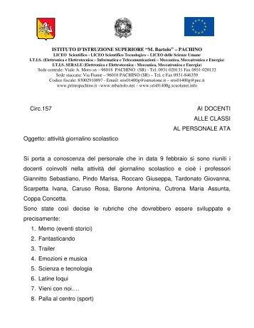 Circ.157 AI DOCENTI ALLE CLASSI AL PERSONALE ATA Oggetto ...