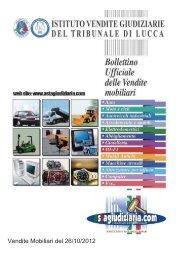 Vendite Mobiliari del 26/10/2012 - Astagiudiziaria