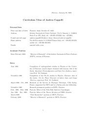 Curriculum Vitae of Andrea Cappelli - Florence Theory Group - Infn