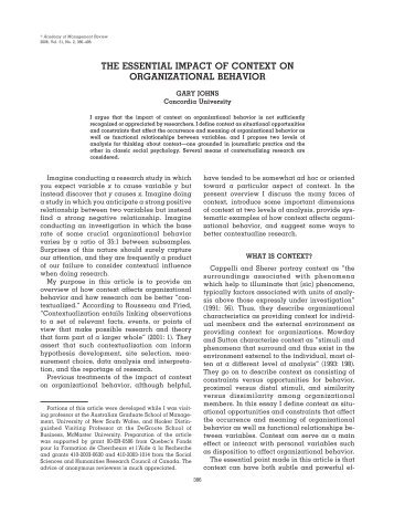 the essential impact of context on organizational behavior - iacmr