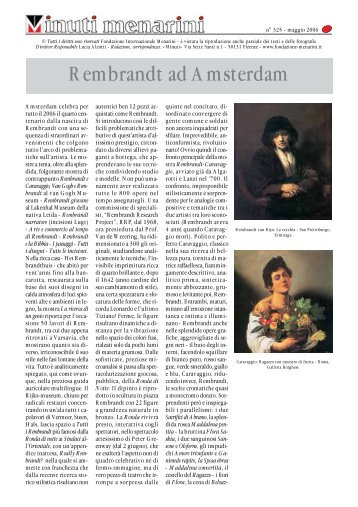 Rembrandt ad Amsterdam - Fondazione Internazionale Menarini