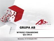 Wyniki finansowe III kwartał 2012 - AB SA