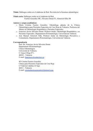 Título: Hallazgos orales en el síndrome de Rett: Revisión de la ...