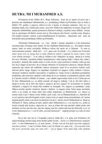 HUTBA: MI I MUHAMMED A.S. - Islamska zajednica u Hrvatskoj