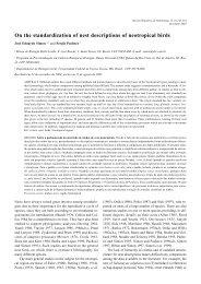 On the standardization of nest descriptions of neotropical birds