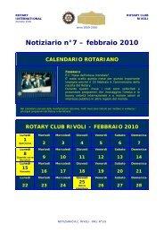 Notiziario n°7 – febbraio 2010 CALENDARIO ... - Rotary Club Rivoli